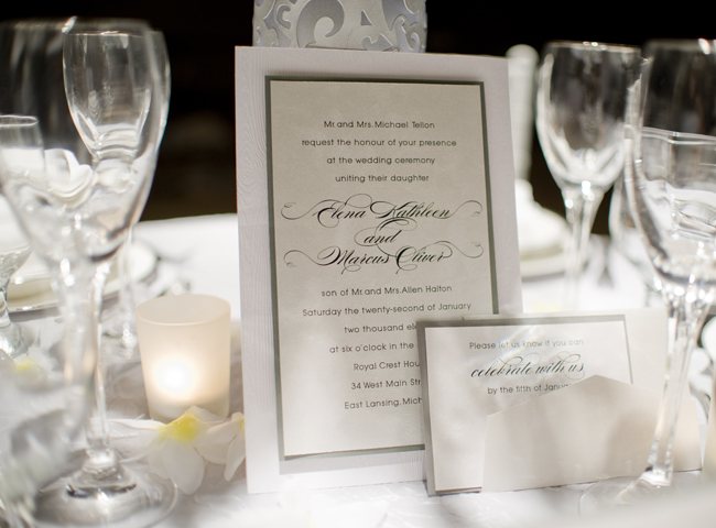 Traditional Elegant Wedding Invitations: Winter Wedding Tablescape