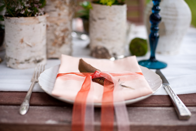 pinkpeachribbonstablesettingideas Flowers played a huge part in our