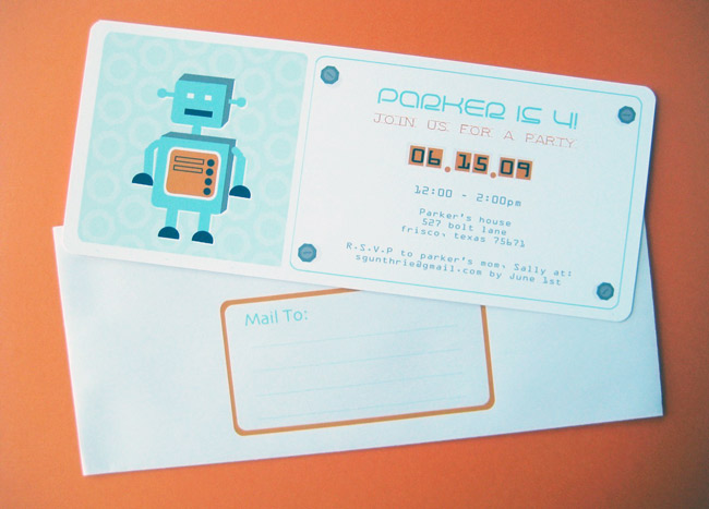 Robot theme birthday party invitations the sweetest occasion robot theme birthday party invitations filmwisefo Gallery