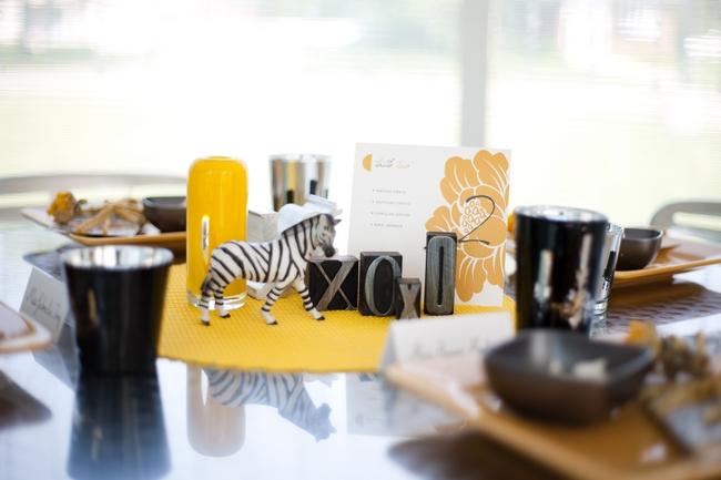 Yellow Black White Wedding Safari Theme Centerpieces