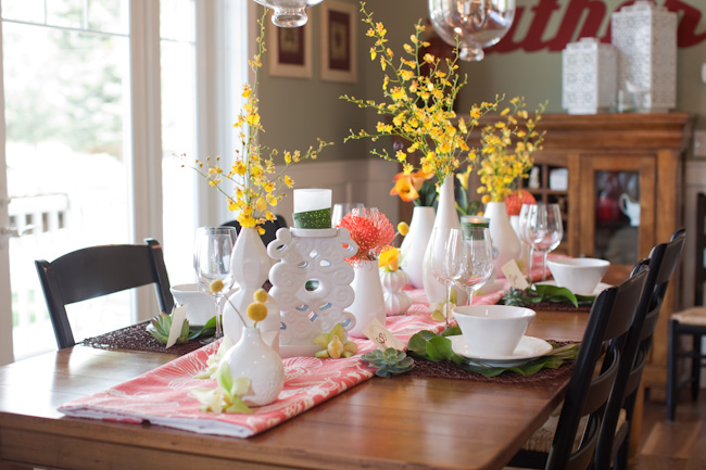 Yellow Orange Green Wedding Tablescape Ideas