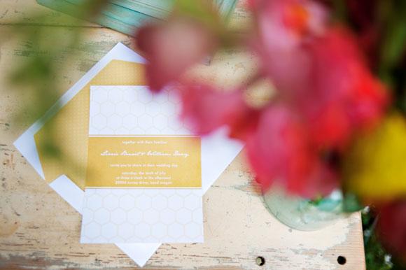 yellow-white-honeycomb-bee-theme-wedding-invitaitons-3