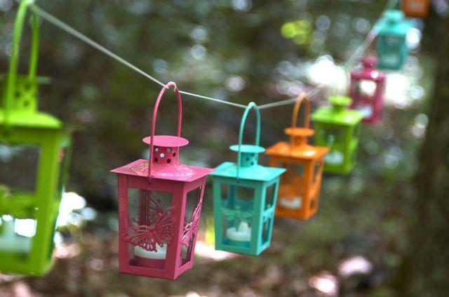 Mini paper lantern string lights - Colorful Outdoor Lanterns