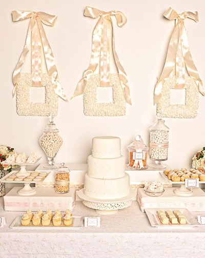 Elegant White Wedding Dessert Buffet thumbnail