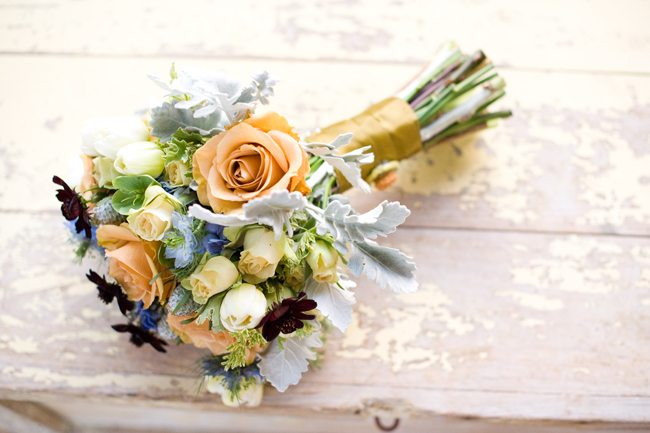 Peach-and-Light-Blue-Bouquet - The Sweetest Occasion