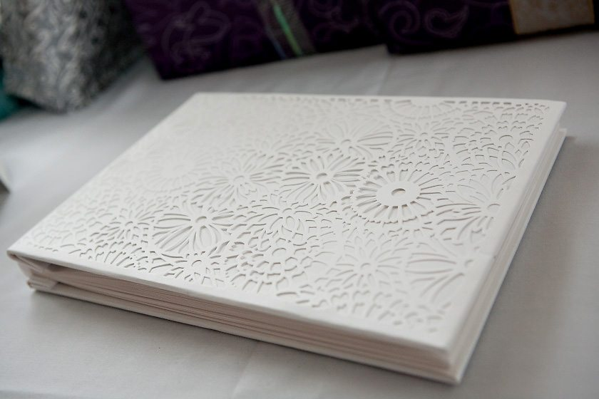 White laser cut wedding guest book the sweetest occasion for Photo wedding guest book