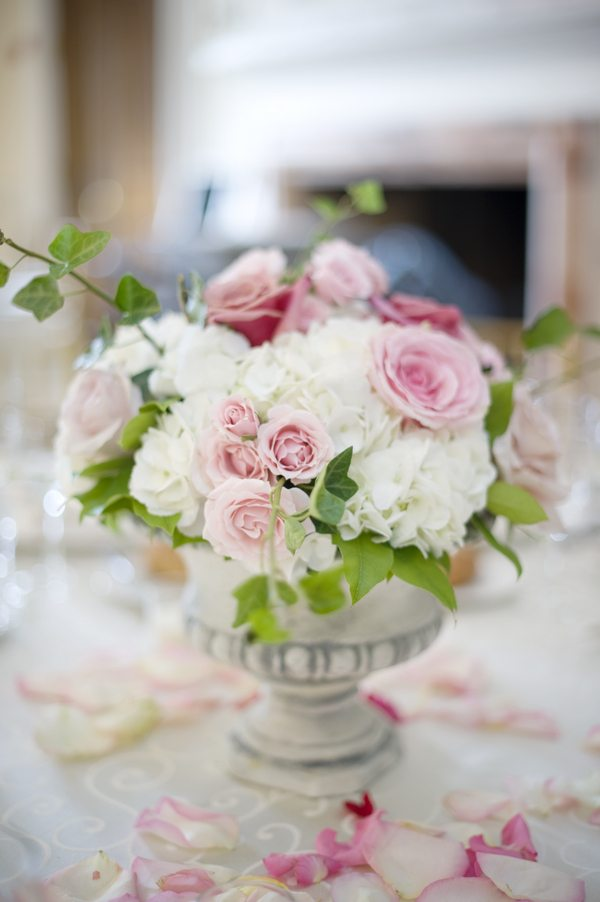 Pink white rose centerpieces the sweetest occasion —