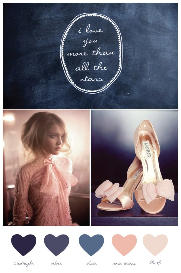 Navy Blue Blush Pink Man Shoes