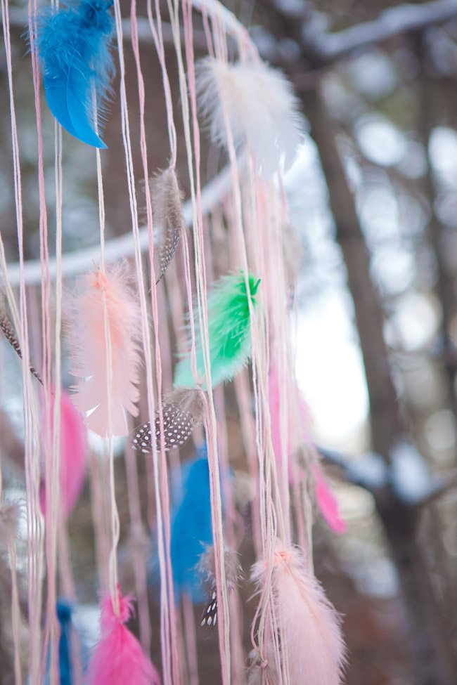 Spray Paint String Or Ribbon Melissa Used Varying Shades Of Pink And Cream Embroidery Floss For This Project Lots Feathers Scissors Fishing Line