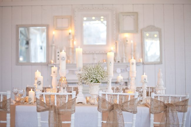 Burlap bling wedding inspiration the sweetest occasion of candlelight is simple yet cozy and inviting oh and please dont get me started on the amazing cake i swear its the wedding cake of my dreams junglespirit