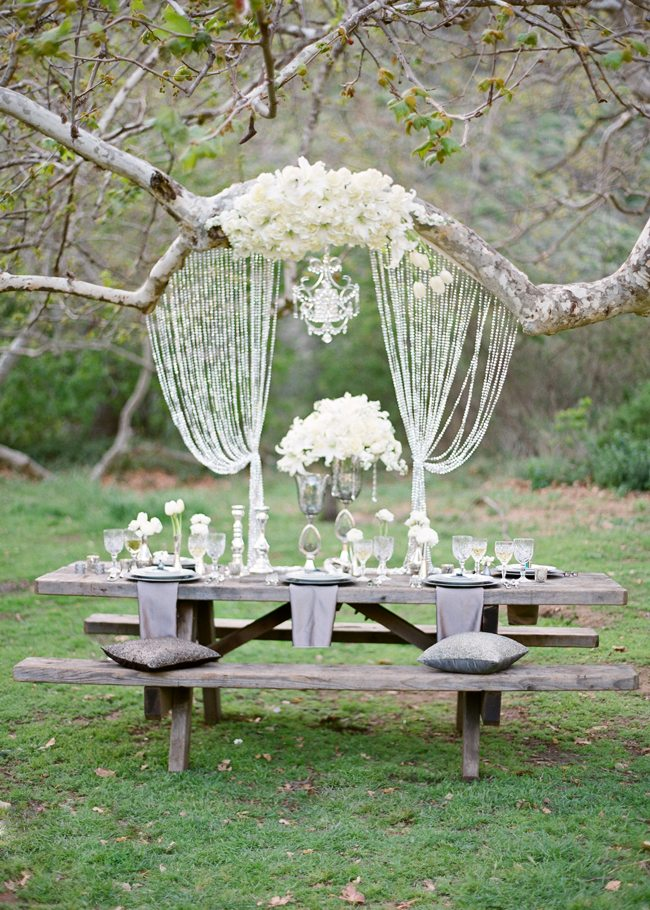 Vintage chic engagement photos the sweetest occasion the - Glamorous Wedding Style Under The Trees The Sweetest