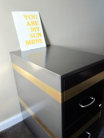 DIY Gold Striped Filing Cabinet thumbnail