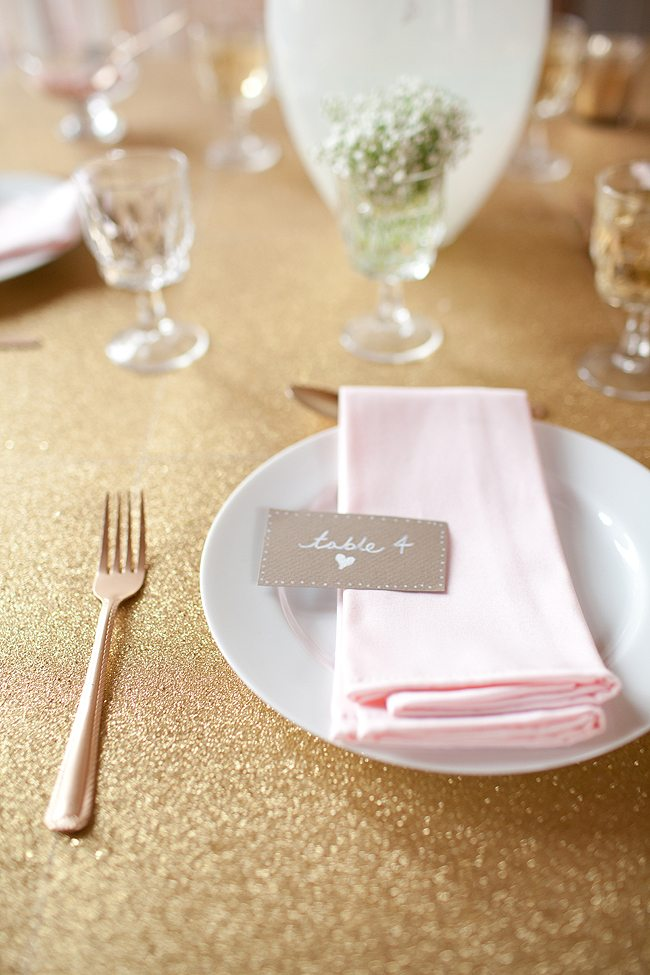 Pink Gold Copper Wedding Place Setting