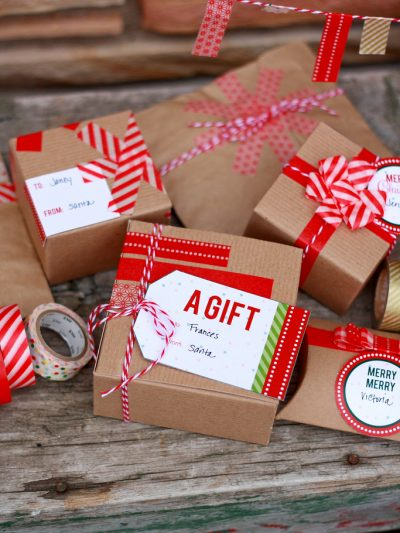Washi Tape Gift Wrap Ideas + Printable Gift Tags thumbnail