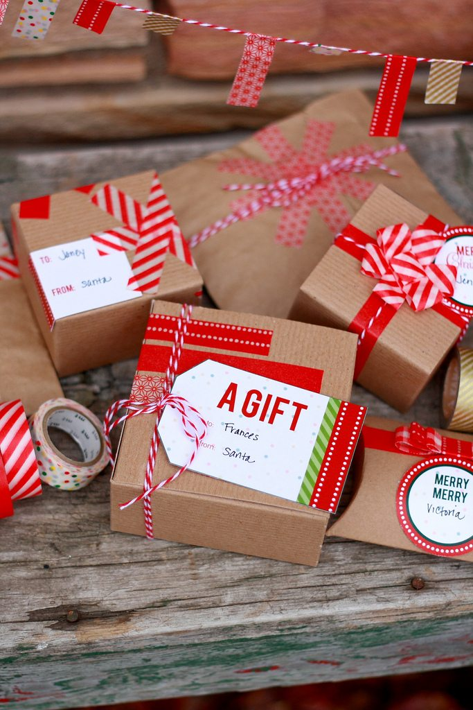 washi tape gift wrap ideas printable gift tags the