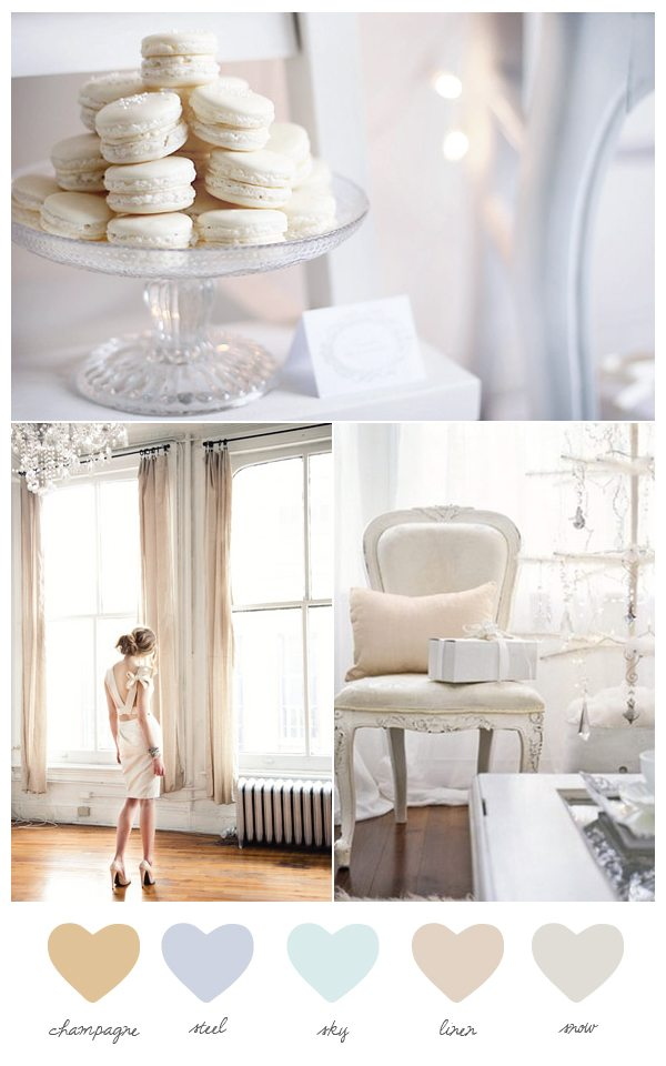 Think colors inspired by snow sky winter white soft champagne and steely