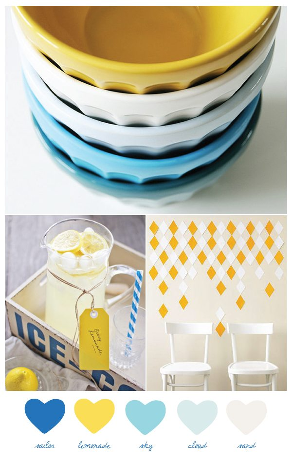 these bright and happy shades of blue and lemony yellow right now