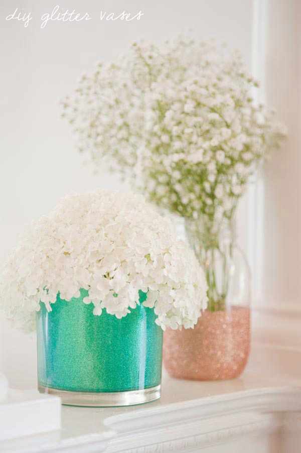 DIY Glitter Wedding Vases