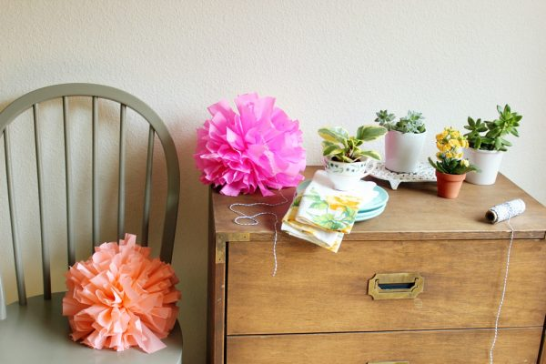 DIY crepe paper poms by Hank + Hunt for The Sweetest Occasion