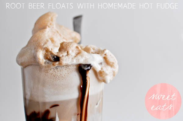 Root beer floats with homemade hot fudge
