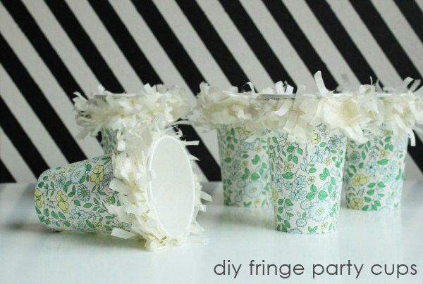 DIY fringe party cups by Hank + Hunt for The Sweetest Occasion