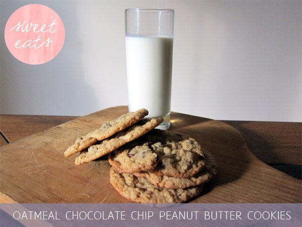Oatmeal chocolate chip peanut butter cookies | The Sweetest Occasion