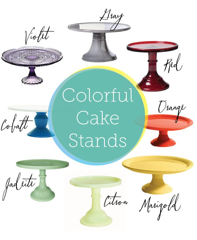 A rainbow of cake stands from The Sweetest Occasion