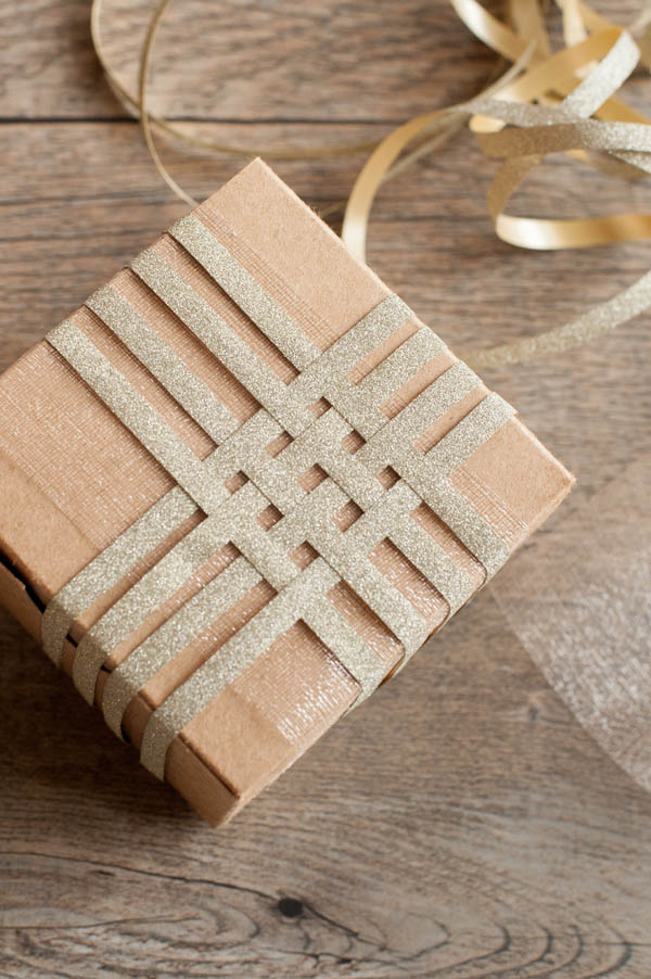Gift wrapping inspiration: Gold glitter basket weave ribbon