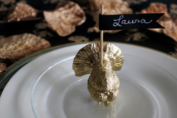 DIY gold turkey place card holders by Hank + Hunt for The Sweetest Occasion