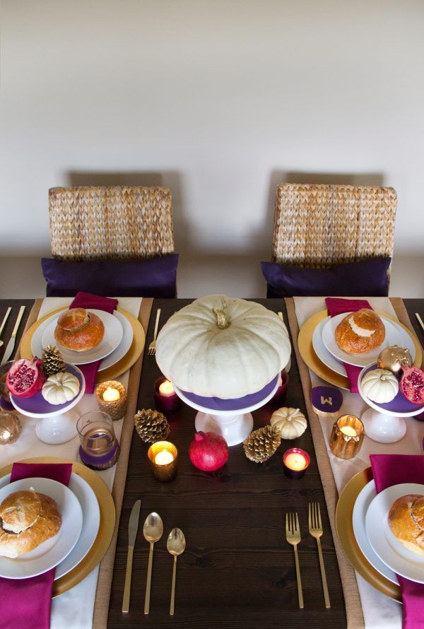 Golden Thanksgiving table setting ideas from Confetti Pop on The Sweetest Occasion