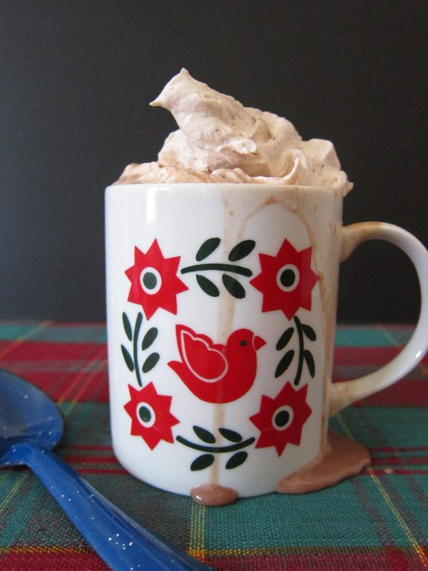 Nutella hot chocolate with cinnamon whipped cream from The Sweetest Occasion