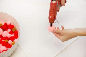 DIY Pom Pom Tablecloth Step 1