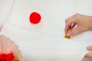 DIY Pom Pom Tablecloth Step 4