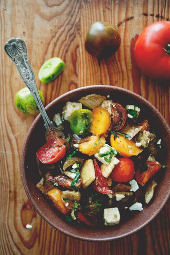 Heirloom tomato roasted eggplant salad