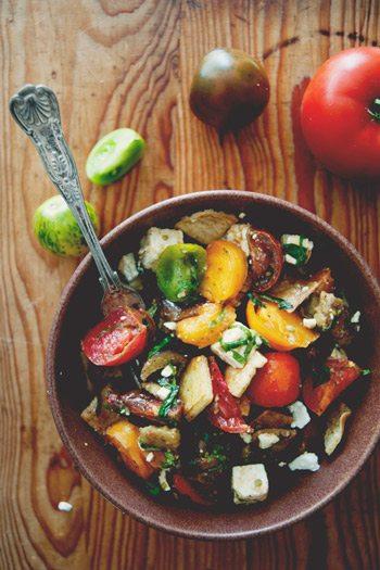 Heirloom tomato roasted eggplant salad