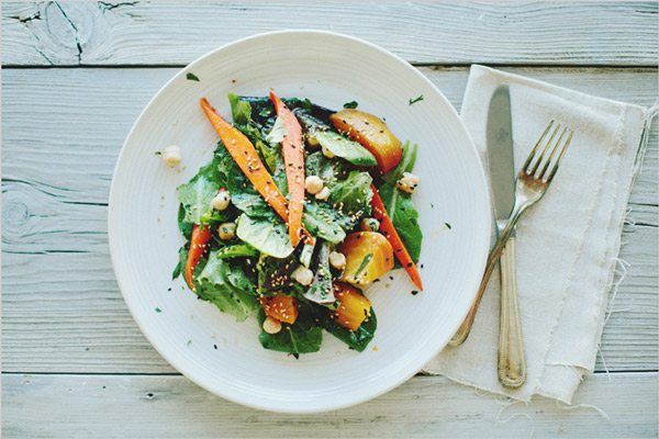 Glazed beet and carrot salad