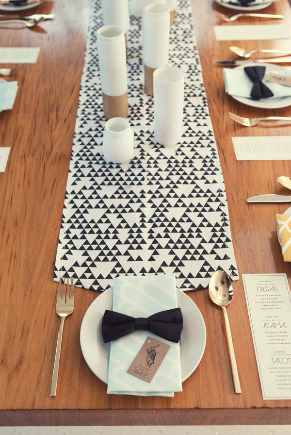 Graphic dinner party table setting