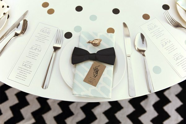 Gold + black table setting