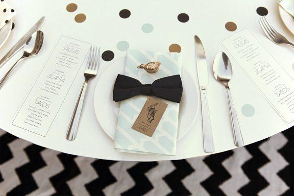 Gold + black table setting