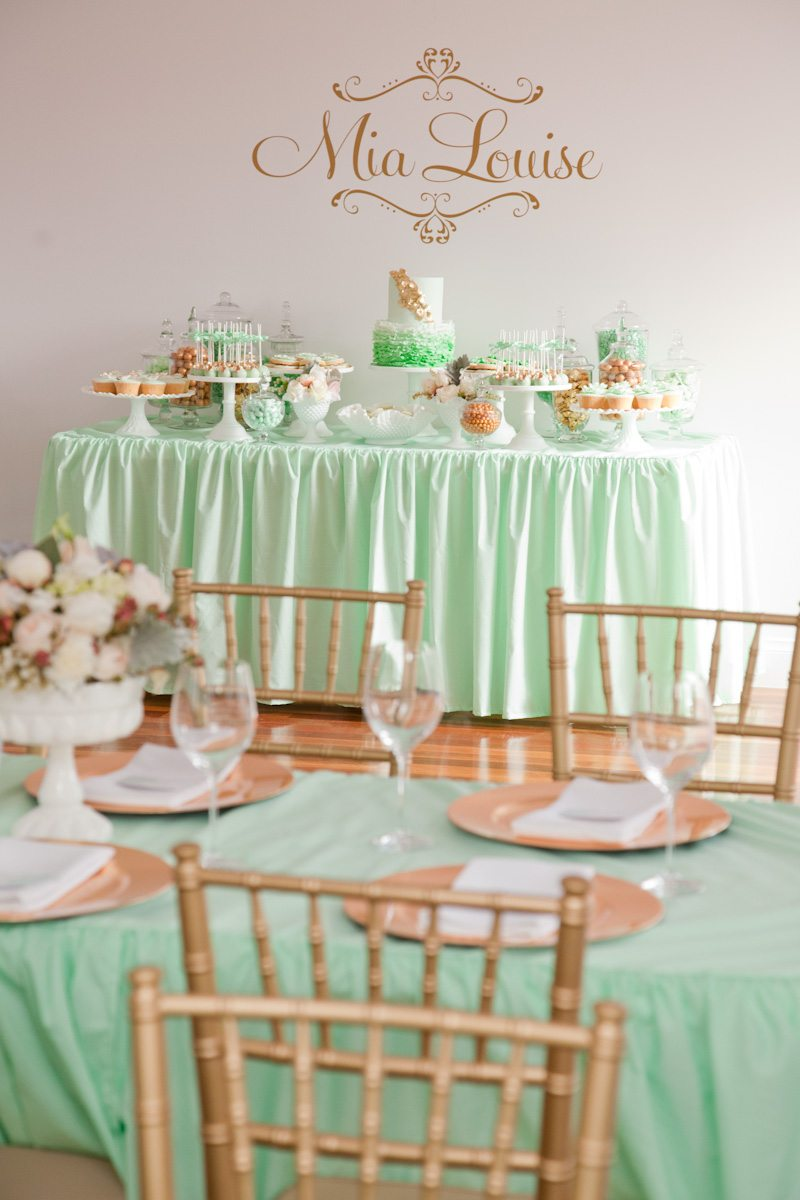 Gold mint baby shower The Sweetest Occasion