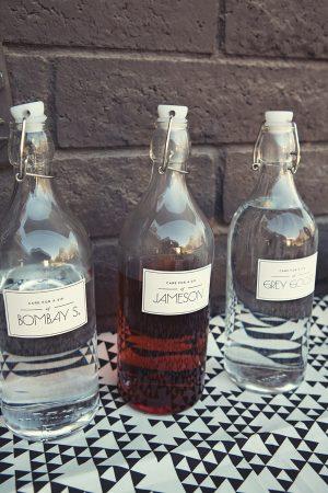 Liquor in stopper bottles