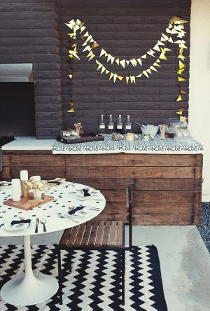 Gold mylar party bunting