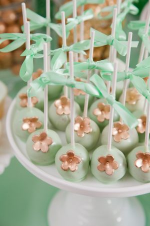 Mint + Gold Cake Pops