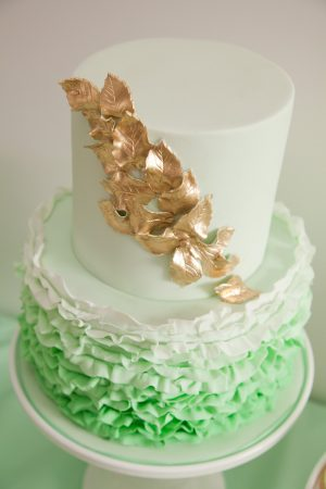 Mint + Gold Ruffle Cake