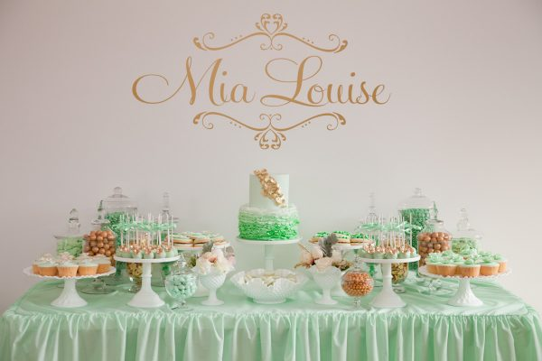 An Elegant Mint + Gold Christening