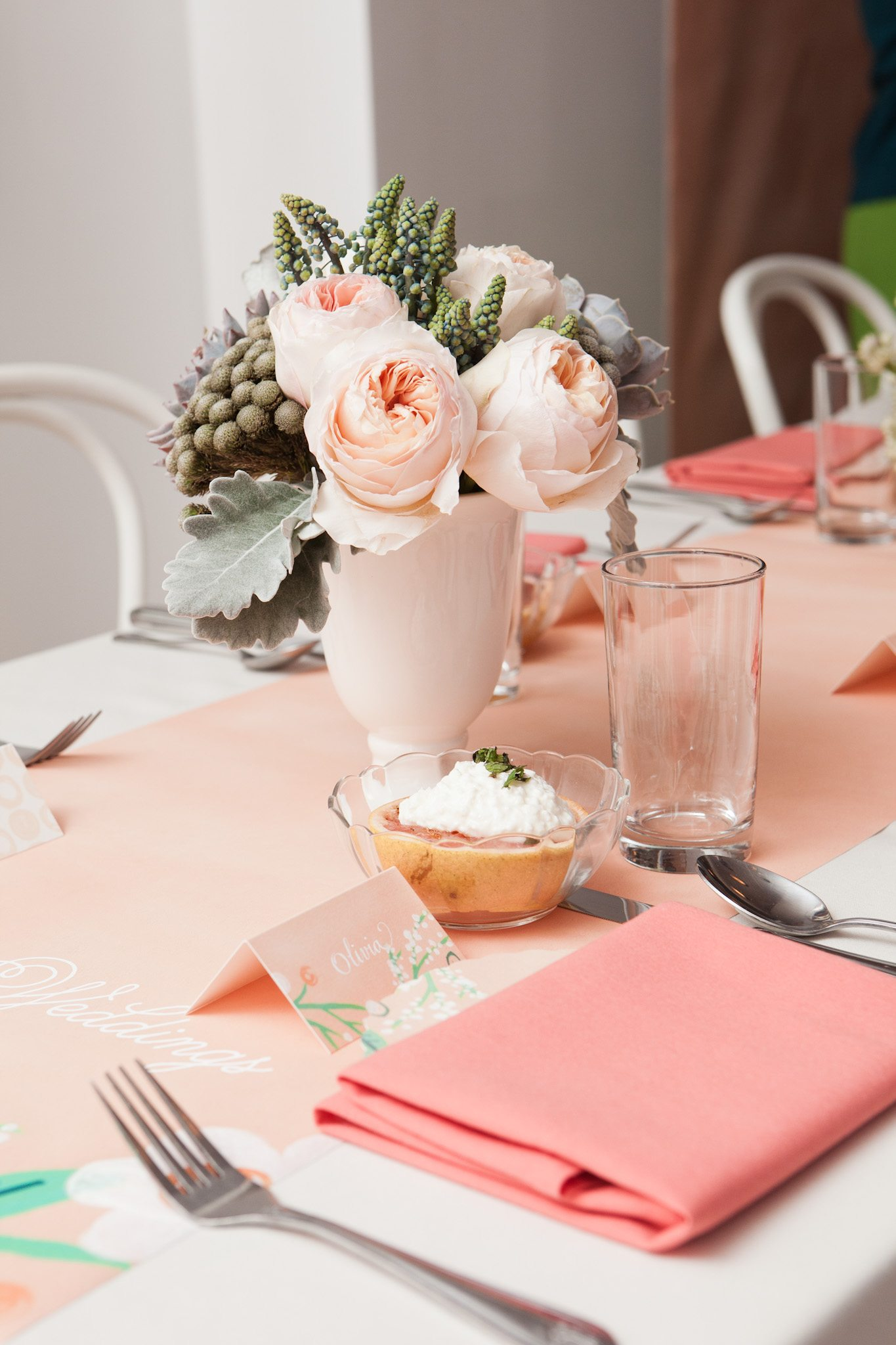 Pink and peach wedding decor The Sweetest Occasion