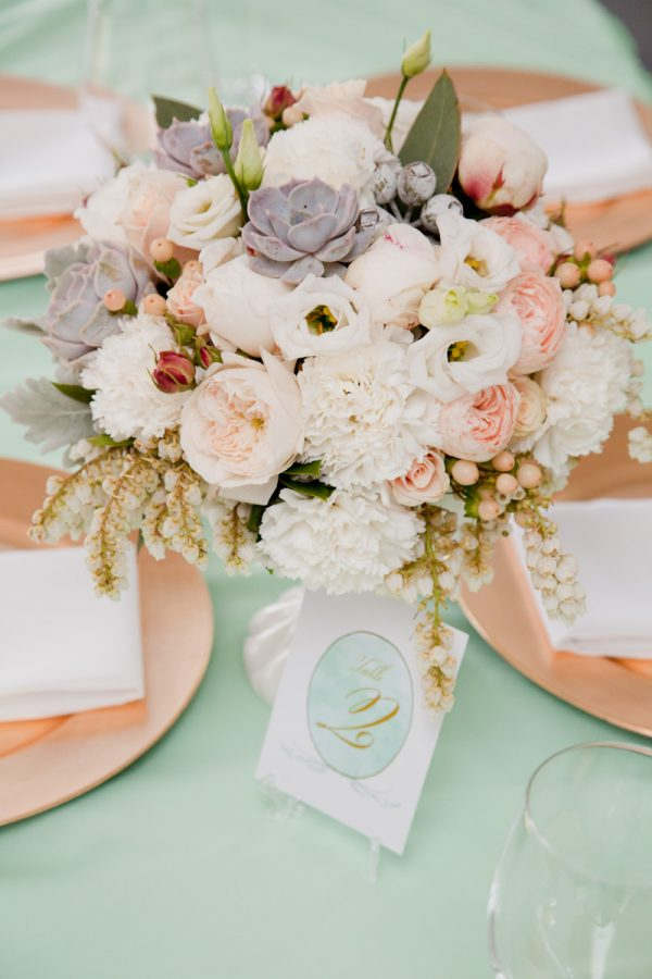 Elegant White + Blush Centerpiece