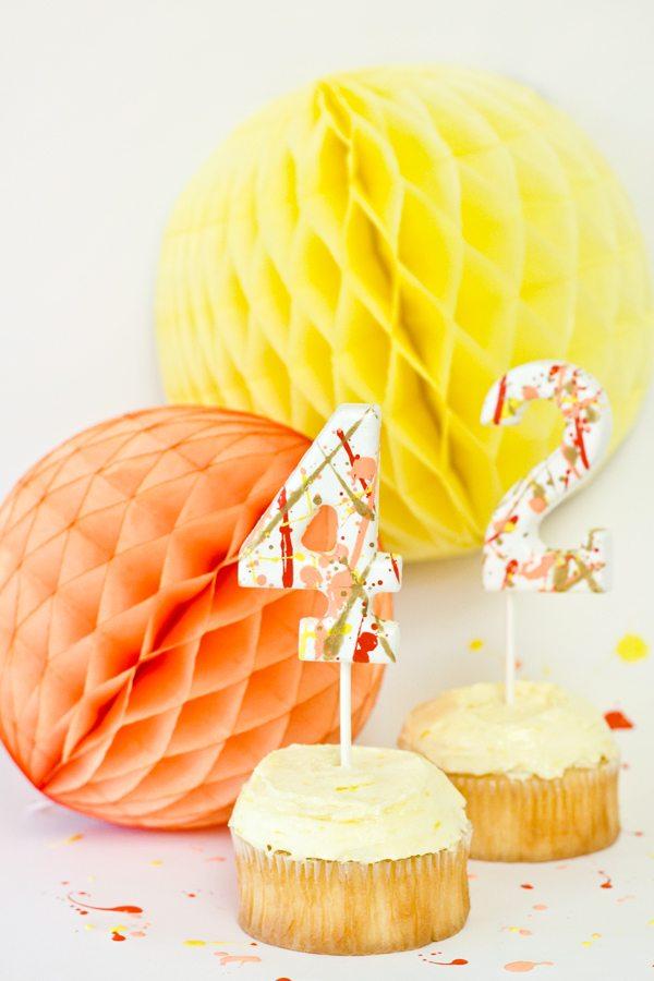 DIY Splatter Paint Cake Toppers