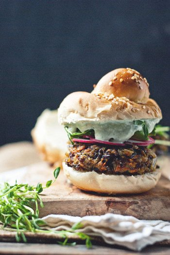Black Bean Mushroom Burger with Cucumber Garlic Yogurt
