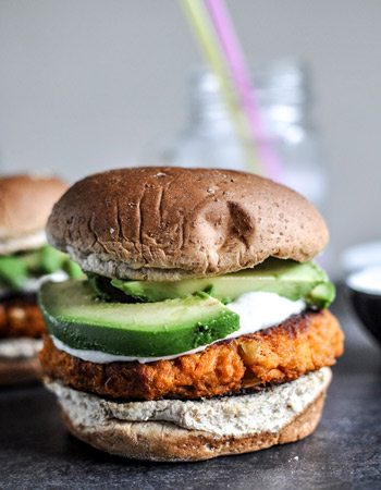 Sweet Potato Burgers with Roasted Garlic Cream + Avocado